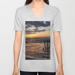 Disc Golf Basket Beach Ocean Innova Discraft Sunset Waves Virginia Vibram Unisex V-Neck