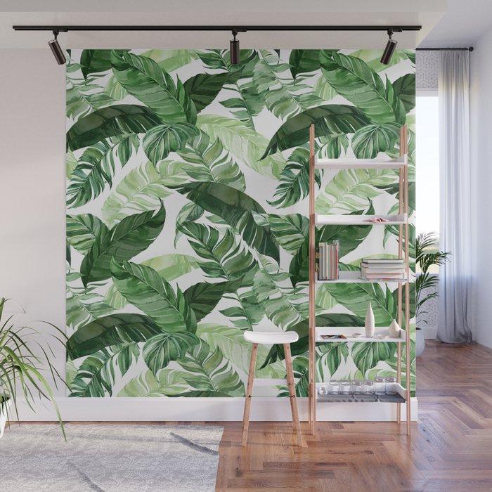 Green leaf watercolor pattern Wall Mural