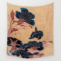 japanese Wall Tapestries featuring japanese flowers by PureVintageLove