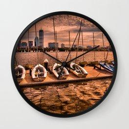 Boats at Charles River, Boston MA, USA Wall Clock