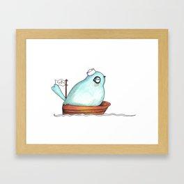 Blue bird out at sea watercolor ink illustration Framed Art Print