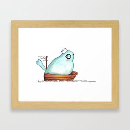 Blue bird out at sea watercolor ink illustration Framed Art Print
