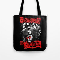 5 seconds of summer Tote Bags featuring FIVE SECONDS  by dan ron eli