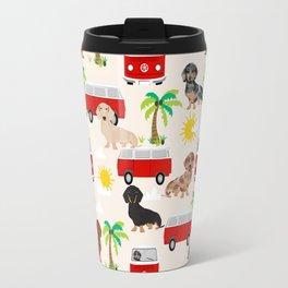 Dachshund Beach day palm tree summer dog cute dog pillow dog blanket beach towel Travel Mug