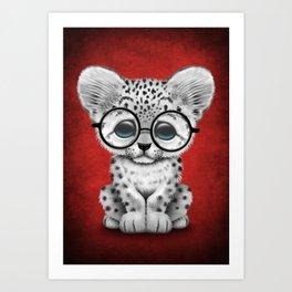 Cute Snow Leopard Cub Wearing Glasses on Deep Red Art Print