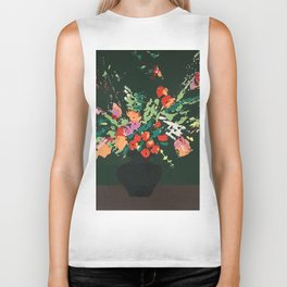 Flowers on Green Biker Tank