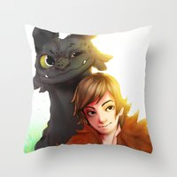 hiccup Throw Pillows featuring Toothless x Hiccup  by Asad Farook