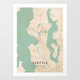 Seattle, United States - Vintage Map Art Print