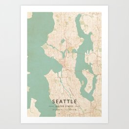Seattle, United States - Vintage Map Kunstdrucke
