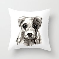 puppy Throw Pillows featuring Puppy  by Cedric S Touati