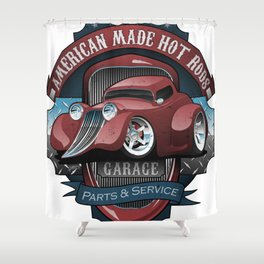 American Hot Rods Garage Vintage Car Sign Cartoon Shower Curtain