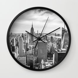 New York City Cityscape (Black and White) Wall Clock