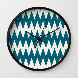Off White and Tropical Dark Teal Inspired by Sherwin Williams 2020 Trending Color Oceanside SW6496 Zigzag Pointed Rippled Horizontal Line Pattern Wall Clock