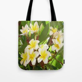 White and Yellow Frangipani Flowers with Leaves in Background  Tote Bag
