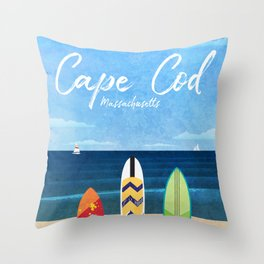 Cape Cod Travel Poster Throw Pillow