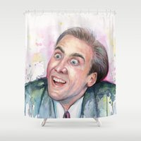 nicolas cage Shower Curtains featuring Nicolas Cage You Don't Say by Olechka
