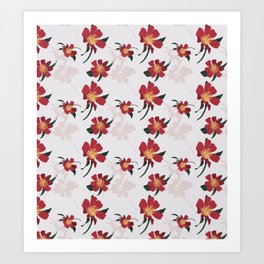 Happy Red Camellias. Art Print