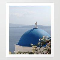 Santorini heights Art Print