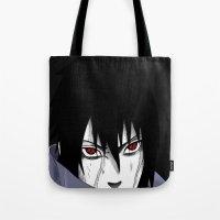 sasuke Tote Bags featuring Sasuke Uchiha  by Iotara
