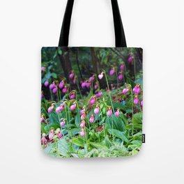Wild Orchid Lady Slipper Forest Flowers Found in Rhode Island Tote Bag