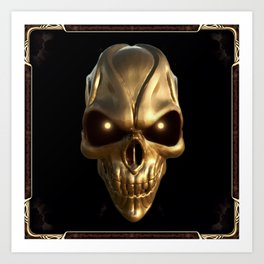 Skull with glowing golden eyes Art Print