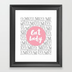 Cat Lady Cat Pattern Framed Art Print