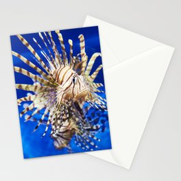 Poisonous lionfish in blue water sea Stationery Cards