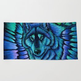 Blue Wolf Aurora Colorful Fantasy Beach Towel