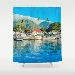 Lāhainā Marina Sunset Maui Hawaii Shower Curtain