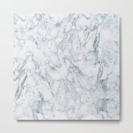 Vintage elegant navy blue white stylish marble Metal Print