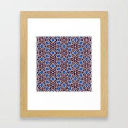 Blue and Gold Beadwork Inspired Print Framed Art Print