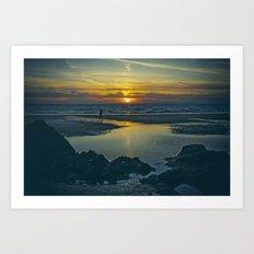Walking at Sunset Art Print