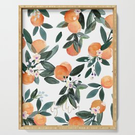 Dear Clementine - oranges on white Serving Tray