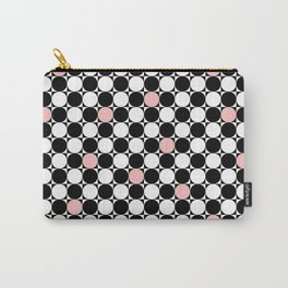Geometrical abstract pink coral black white polka dots Carry-All Pouch