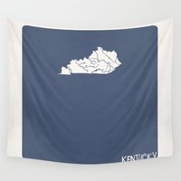 kentucky Wall Tapestries featuring Kentucky Minimalist Vintage Map by Finlay McNevin