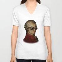 mozart V-neck T-shirts featuring Funny Steampunk Mozart by Paul Stickland for StrangeStore