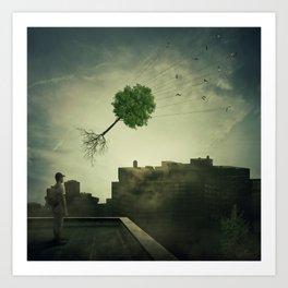 Greening of the foggy town Art Print