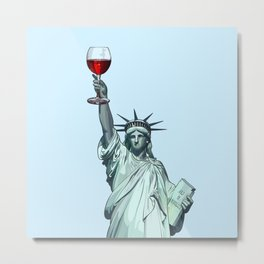 Statue of Liberty With Glass of Red Wine - New York Metal Print