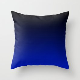 Black and Dark Blue Gradient 061 Throw Pillow