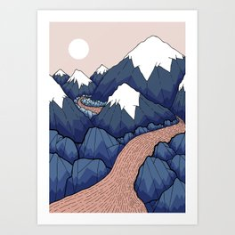 The twisting river in the mountains Art Print