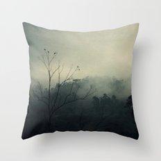 moody fog mountain Throw Pillow