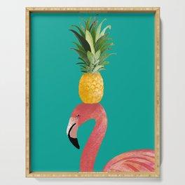 Flamingo Vibes |Tropical Pink Bird Pineapple on Head| Renee Davis Serving Tray