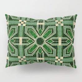 Art Deco Floral Tiles in Emerald Green and Faux Gold Pillow Sham