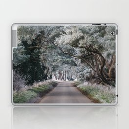Hoar frost covered trees lining a rural road. Norfolk, UK. Laptop & iPad Skin