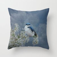 swallow Throw Pillows featuring Tree Swallow by TaLins
