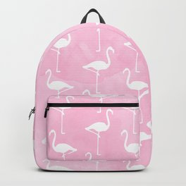 White Flamingos Pattern  |  Pink Background Backpack