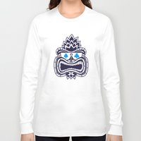 tiki Long Sleeve T-shirts featuring Tiki by Lorenzo Pinna