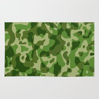 military Area & Throw Rugs featuring Camouflage Army Military Texture Pattern by BluedarkArt