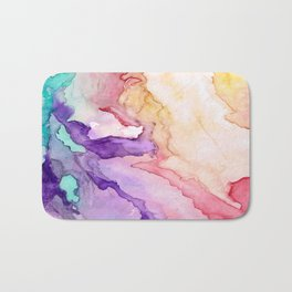 Color My World Watercolor Abstract Painting Bath Mat