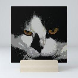 Black white cat II Mini Art Print